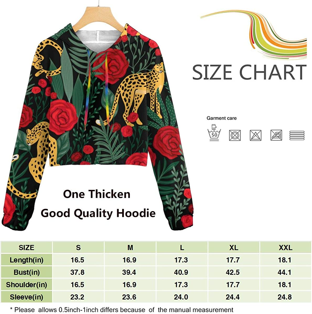 Womens Leopards and Roses Crop Top Pullover Hoodie Cute Long Sleeve Sports Tops