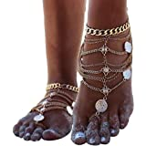 Zhenhui 2 Pcs Coin Blessing Symbol Tassel Indian Anklets Foot Jewelry Boho Vintage Silver Tone Gold Tone
