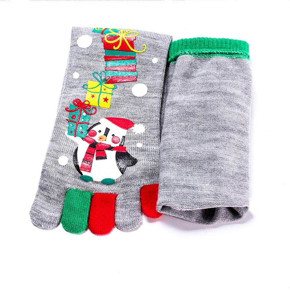 Rosennie Casual Fashion Socks for Swollen Feet and Legs Christmas Unisec Print Multicolor Toe Five Finger Cotton Funny Daily Vintage Socks
