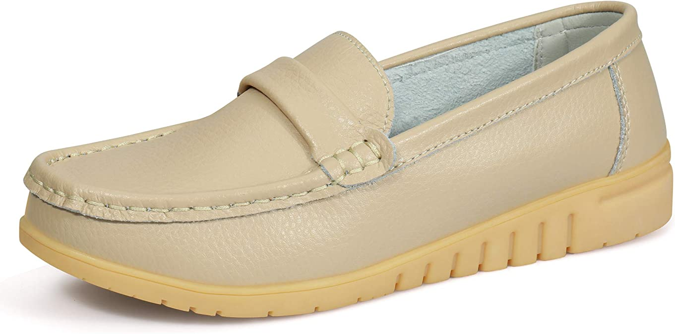 labato Women/'s Leather Loafers Breathable Slip on Driving Shoes Casual Comfort Walking Flat Shoes