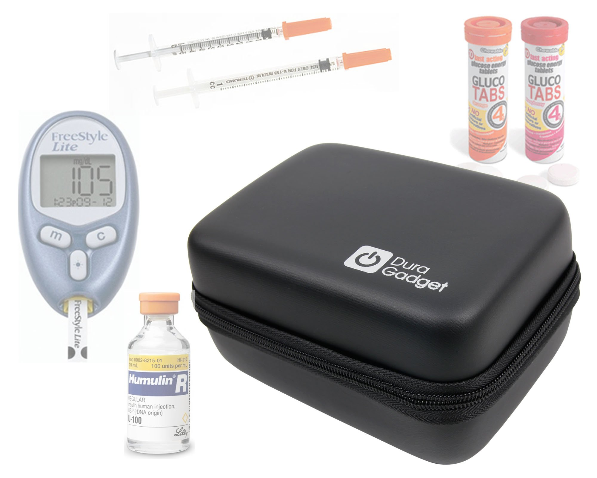 DURAGADGET Black EVA Rigid Insulin Diabetes Medical Supplies Shell Storage/Travel Case With Secure Dual Zips & Netted Internal Compartment