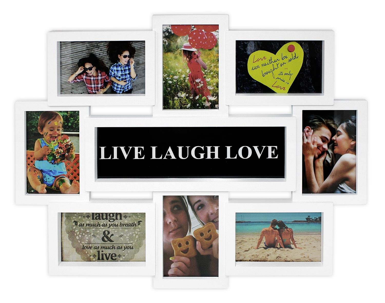 Close Up Portaretratos Multiple Live-Laugh-Love [Blanco] (44cm x 56cm): Amazon.es: Hogar