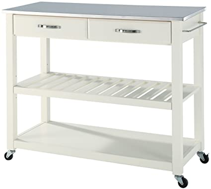 Crosley Furniture Portable Kitchen Cart With Stainless Steel Top   White