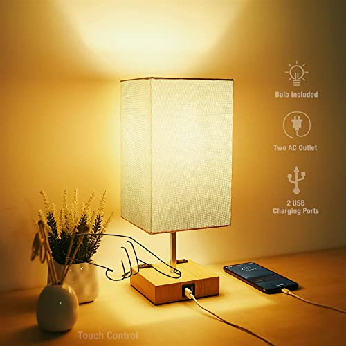 Iporovon Touch Control Table Lamp,3-Way Dimmable Modern Bedside Nightstand Lamp