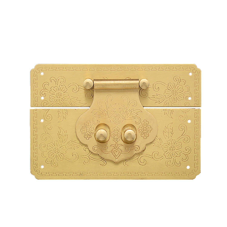 RZDEAL Antique Embossing Brass Buckle Lock Latch Furniture Accessory Decorative Decor Wood Case Jewelry Box(DIY,4.7'' x 3.2'')