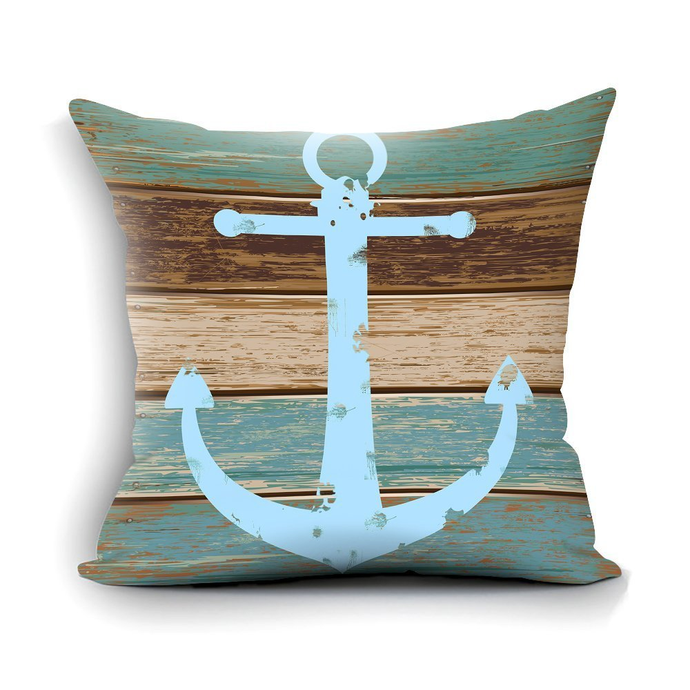 Nautical Anchor Rustic Wood Standard Size Pillow Case,26x26inch two sides