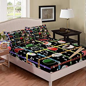 Erosebridal Kids Sushi Bedding Set Japanese Cuisine Fitted Sheet Japan Food Culture Bed Cover for Boys Girls Cartoon Rice Food Theme Bedclothes Child Bedroom Decor with 1 Pillow Case TwinXL