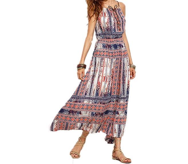 Amazon.com: Eloise Isabel Fashion Elegante Do Vintage Print Floral Amarrado Cami Vestido Maxi Vestidos de Cintura Alta Plissada Plus Size S-XL: Clothing