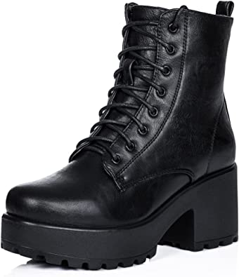Women/'s Fashion British Round Toe Lace Up Ankle Boots Block High Heels Shoes D