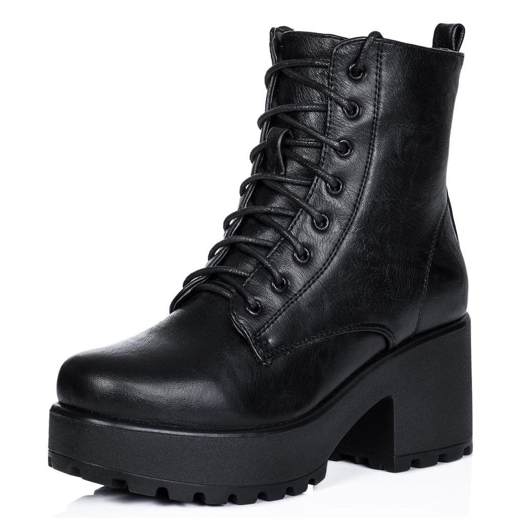 Block Heel Cleated Sole Lace Up Platform Ankle Boots Black Synthetic Leather US 6