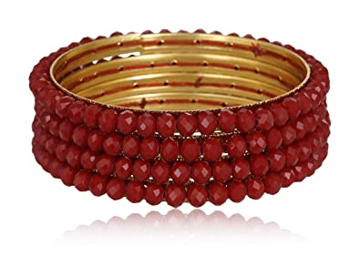 8cd9d3ae7793c Siyaram Pearls and Gems Red Stone Bangle Set for Women (Size: 2.8 ...