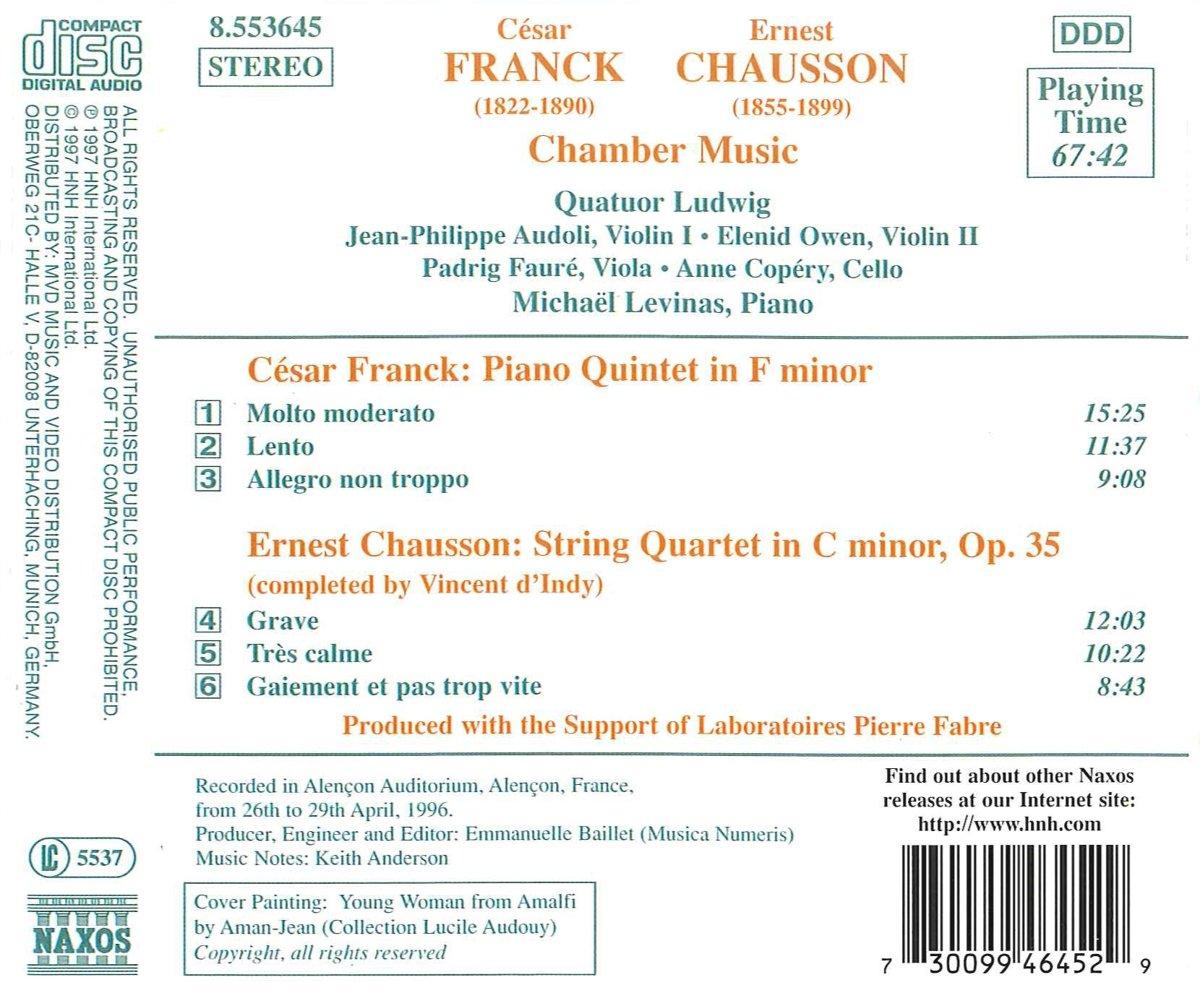 Franck : Quintette avec piano - Chausson : Quatuor à cordes ...