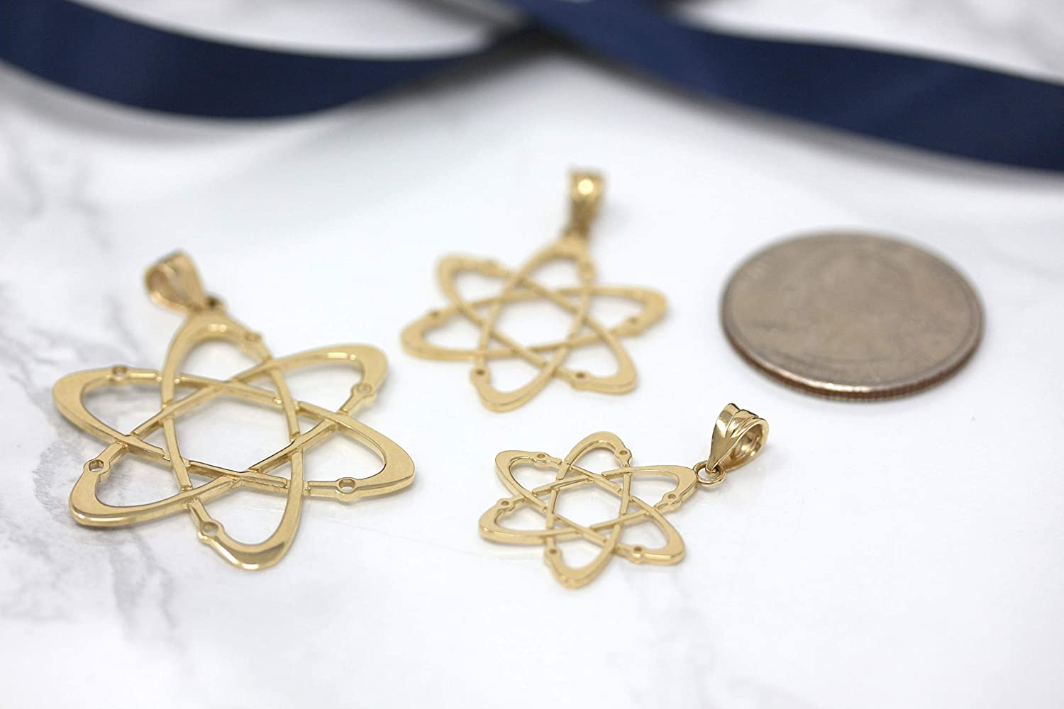 CaliRoseJewelry 10k Yellow Gold Carbon Atom Science Reversible Charm Pendant