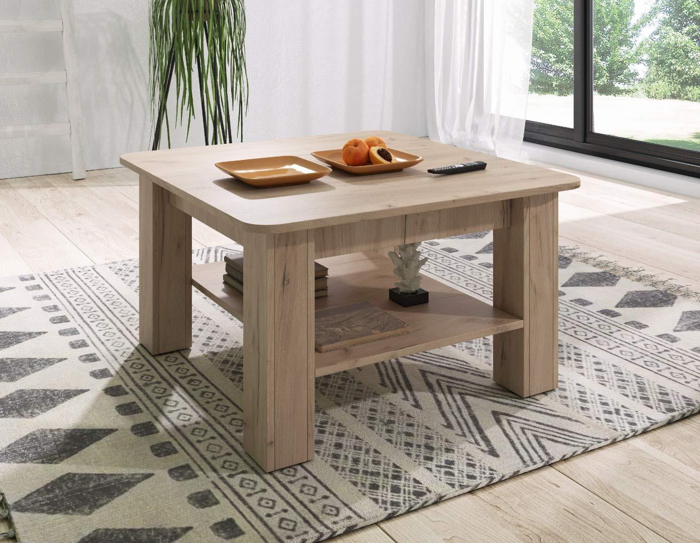 80 x 80 cm in Legno E-Com Rio Tavolino da Salotto Colore: Rovere Dorato