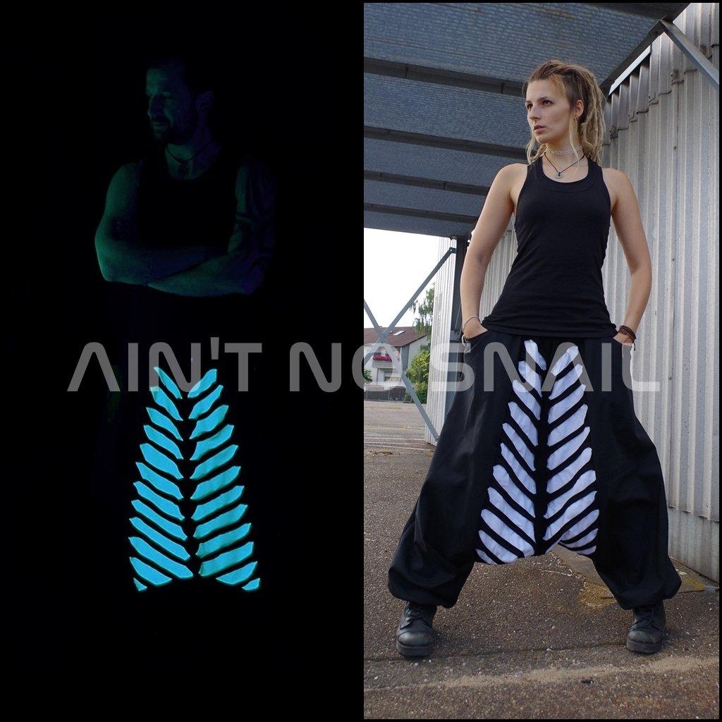 UV aktive Haremshose, schwarz weiß, Psytrance Rave Festival Kleidung ...