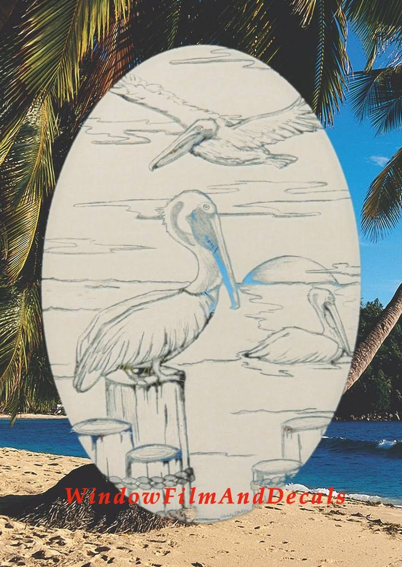 Oval Pelican Etched Window Decal Vinyl Glass Cling - 21'' x 33'' - White with Clear Design Elements by Vinyl Etchings