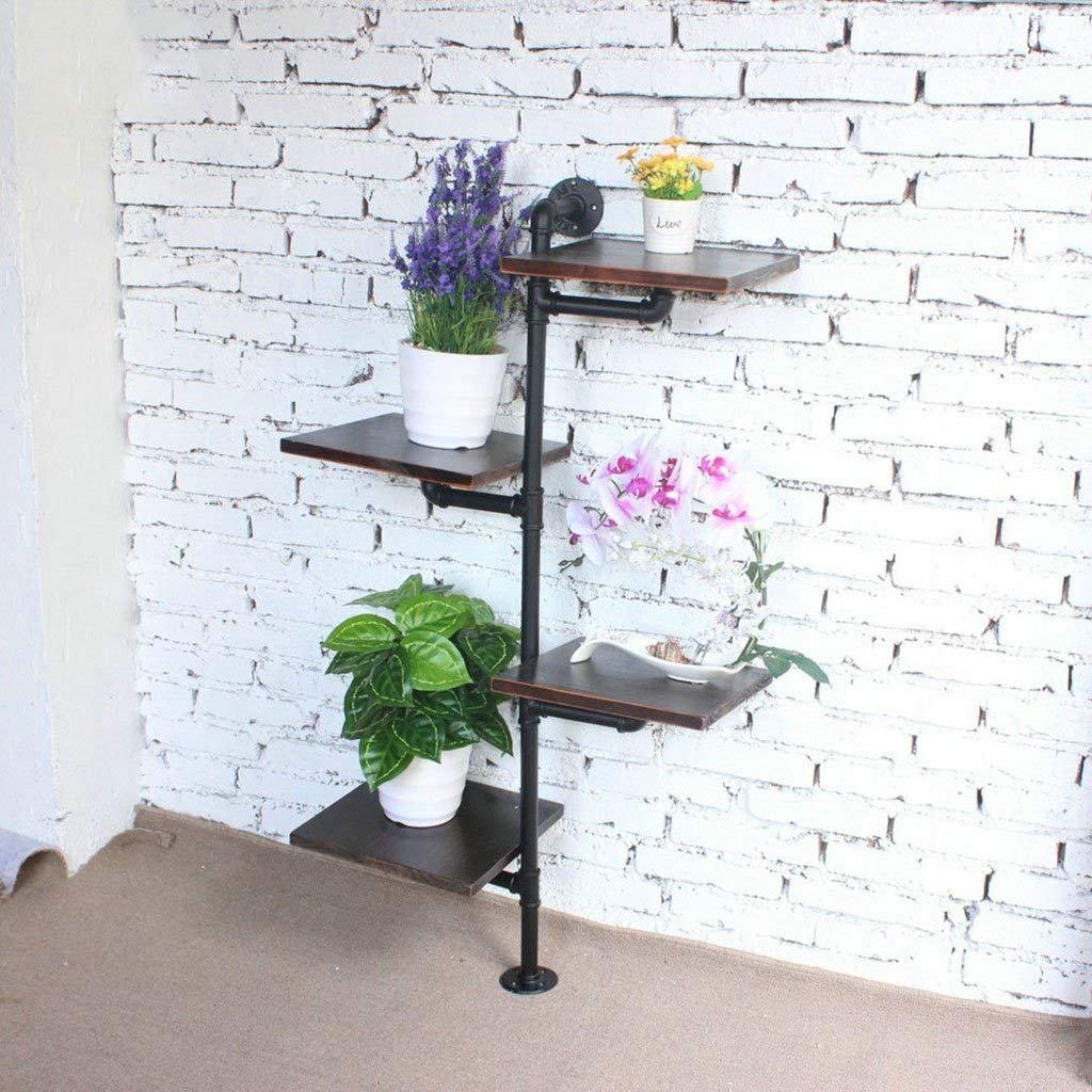 YANG Intashj Iron Retro Water Pipe Solid Wood Shelf Multi - Layer Shoe Rack Flower Frame Shelf Living Room Shelf Floor Storage Shelf,6030116cm