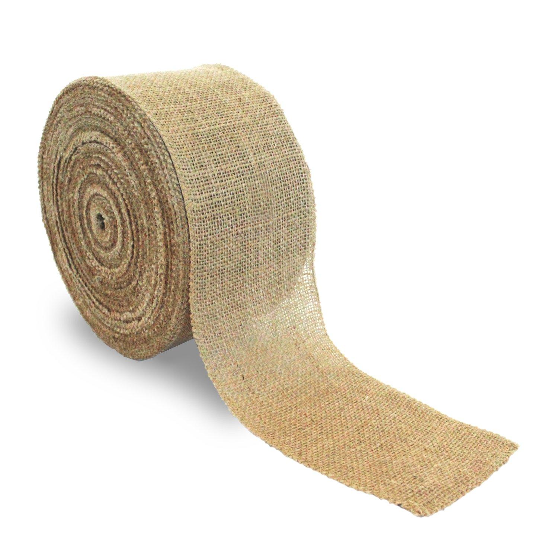 Craft Burlap Ribbon No Fray Edges 4 Inches by 50 Yards Wreath Ribbon