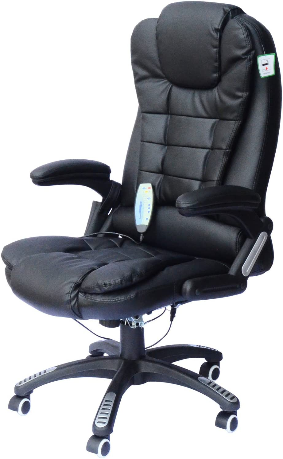 HomCom High-Back Executive Ergonomic PU Leather Heated Vibrating Massage Office Chair - Black