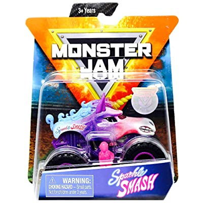 Sparkle Smash Monster Jam Truck with Figure & Poster 1:64 Scale: Toys & Games