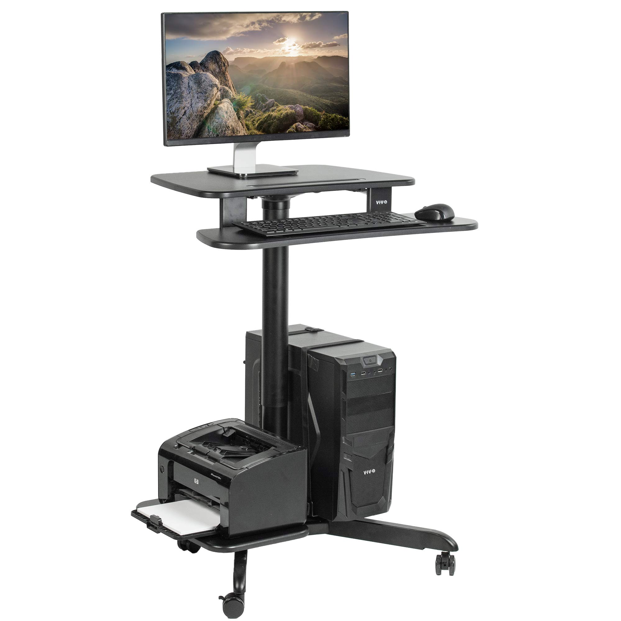 VIVO Black Rolling Dual Tier 24'' Sit to Stand Mobile Computer Workstation with Printer and PC Platform | Pneumatic Spring Height Adjustable Desk Presentation Cart (CART-PC02HB)