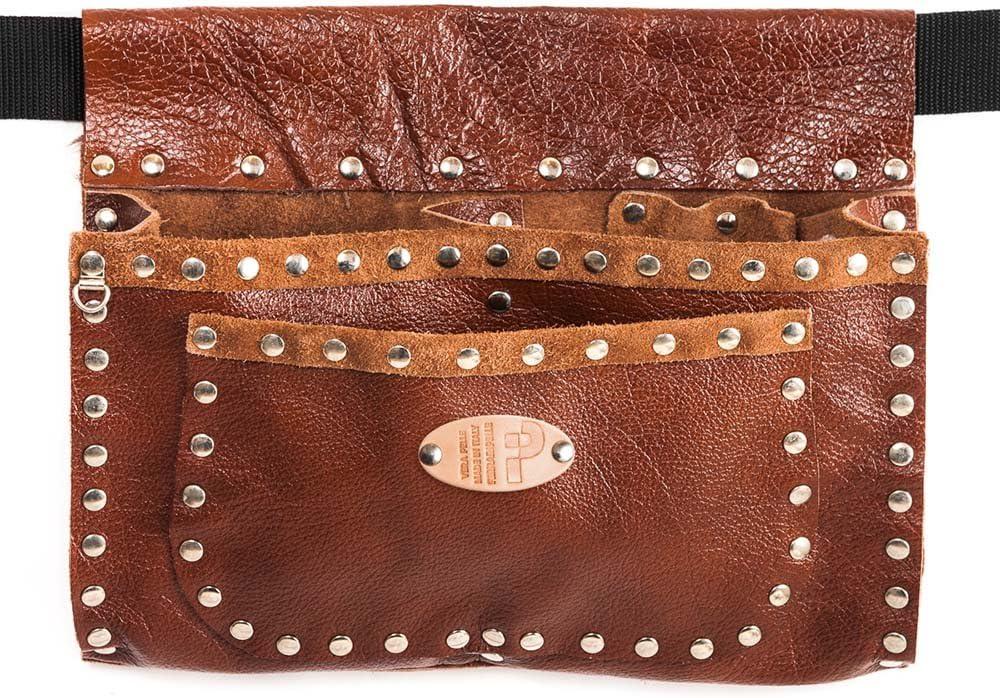 Romaña tachonado - bolso de cuero genuino, Brown, remaches Chrome, Cinturón incluido