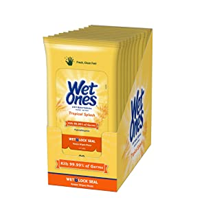 Wet Ones Antibacterial Hand Wipes, Tropical Splash Scent, 20 Count (Pack of 10), Packaging May Vary