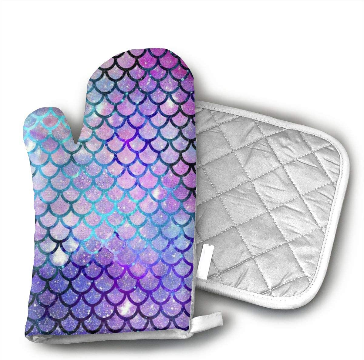 TMVFPYR Mermaid Scales Fashion Galaxy Pattern Oven Mitts, Non-Slip Silicone Oven Mitts, Extra Long Kitchen Mitts, Heat Resistant to 500Fahrenheit Degrees Kitchen Oven Gloves