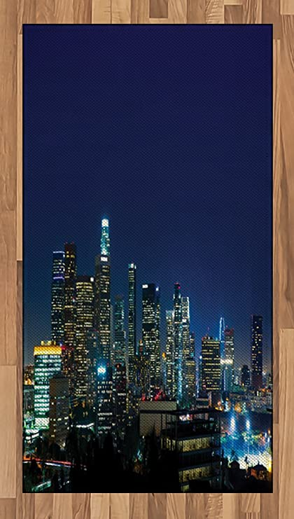 Lunarable Cities of States Area Rug, Downtown Los Angeles Colorful Night Time Landscape Financial District