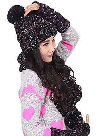 Genius Baby Winter Warm Girl Wool Hat Scarf Gloves Set Women Knitted Hat  Scarf 2bcdec3931d