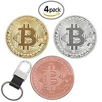 3Pcs Bitcoin Challenge pièce de monnaie classique Collector's Lot   l'édition limitée Original Plaqué or et argent et cuivre Rouge Pur fait de collection jetons W/une vitrine en plastique