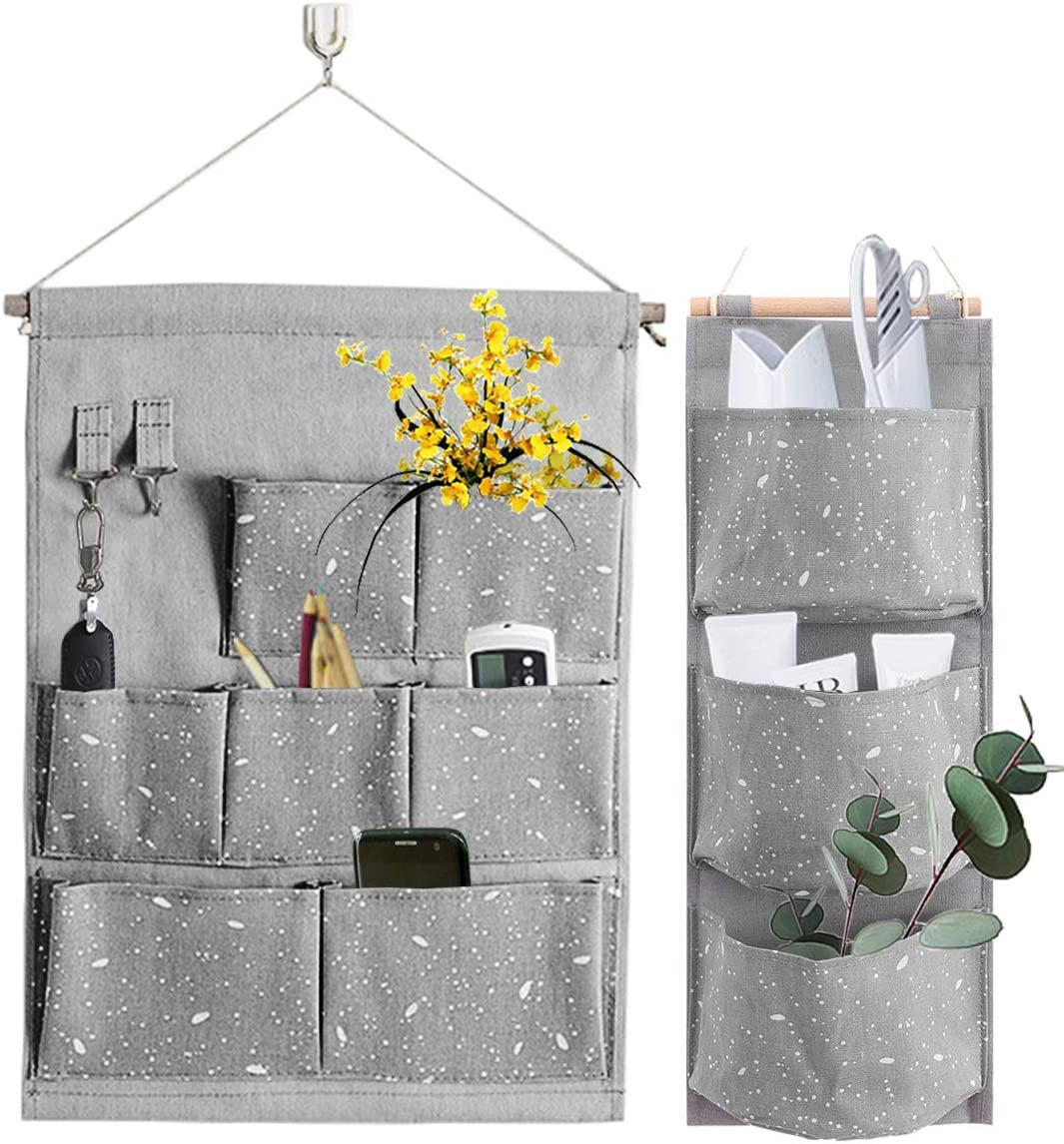 YCH Wall Hanging Storage Bag Waterproof Over The Door Closet Organizer Linen Fabric Hanging Pocket Organizer with 3 Remote-sized Width Pockets for Bedroom Bathroom Grey