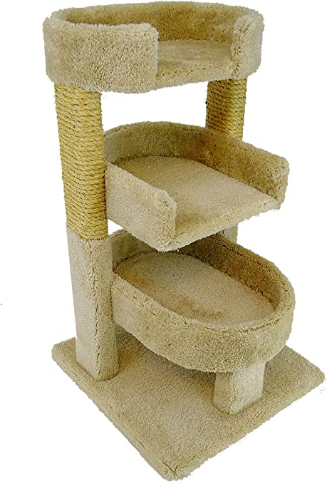 Amazon Com New Cat Condos 110112 Beige Round 33 Triple Cat Perch Pet Supplies