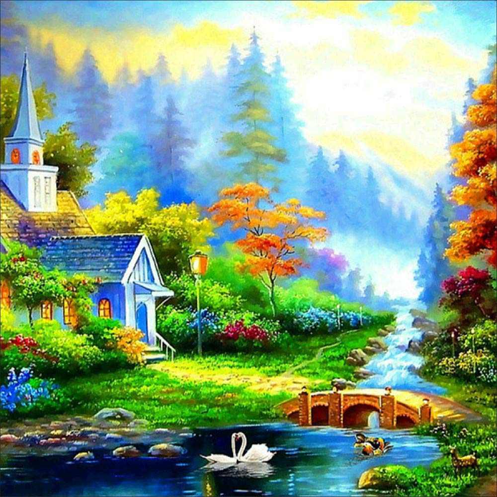 certainPL DIY 5D Diamond Painting by Number Kit, Partial Drill Rhinestone Embroidery Arts Craft for Adults, 12x12 inches, Countryside