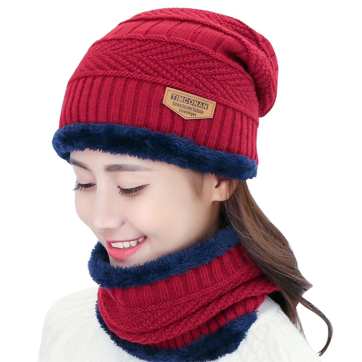 RUNFON Conjunto de Sombrero y Bufanda, Hombre y Mujer Sombrero Caliente de Punto y Bufanda de Forro de Lana, 2 Piezas Sombrero de invierno M1639276DDQQ141