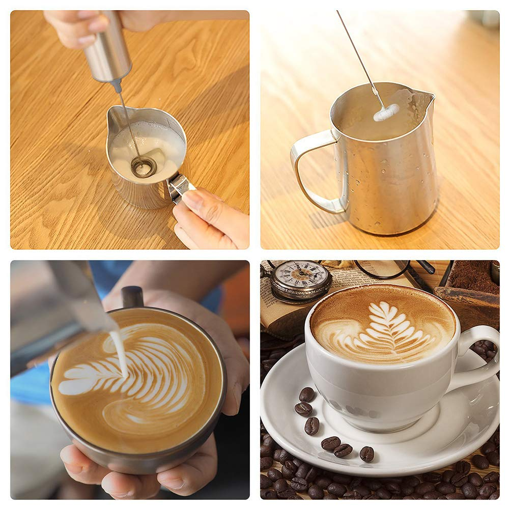 BESTONZON Electric Milk Frother Handheld Stainless Steel Three-layer Milk Blender Foam Maker Drink Mixer For Coffee Latte Cappuccino Hot Chocolate