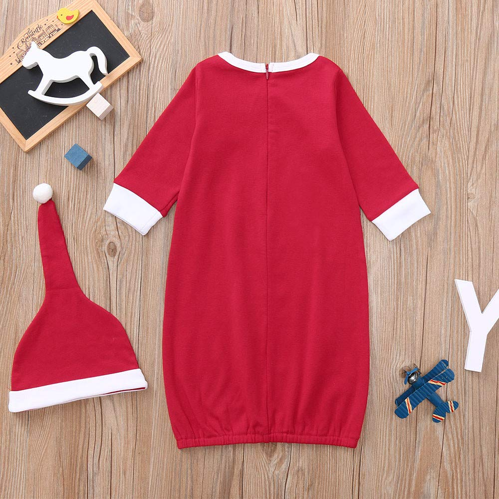 Dream/_mimi Girls Long Sleeve Christmas Letter Cartoon Animal Print Top Striped Trousers Set