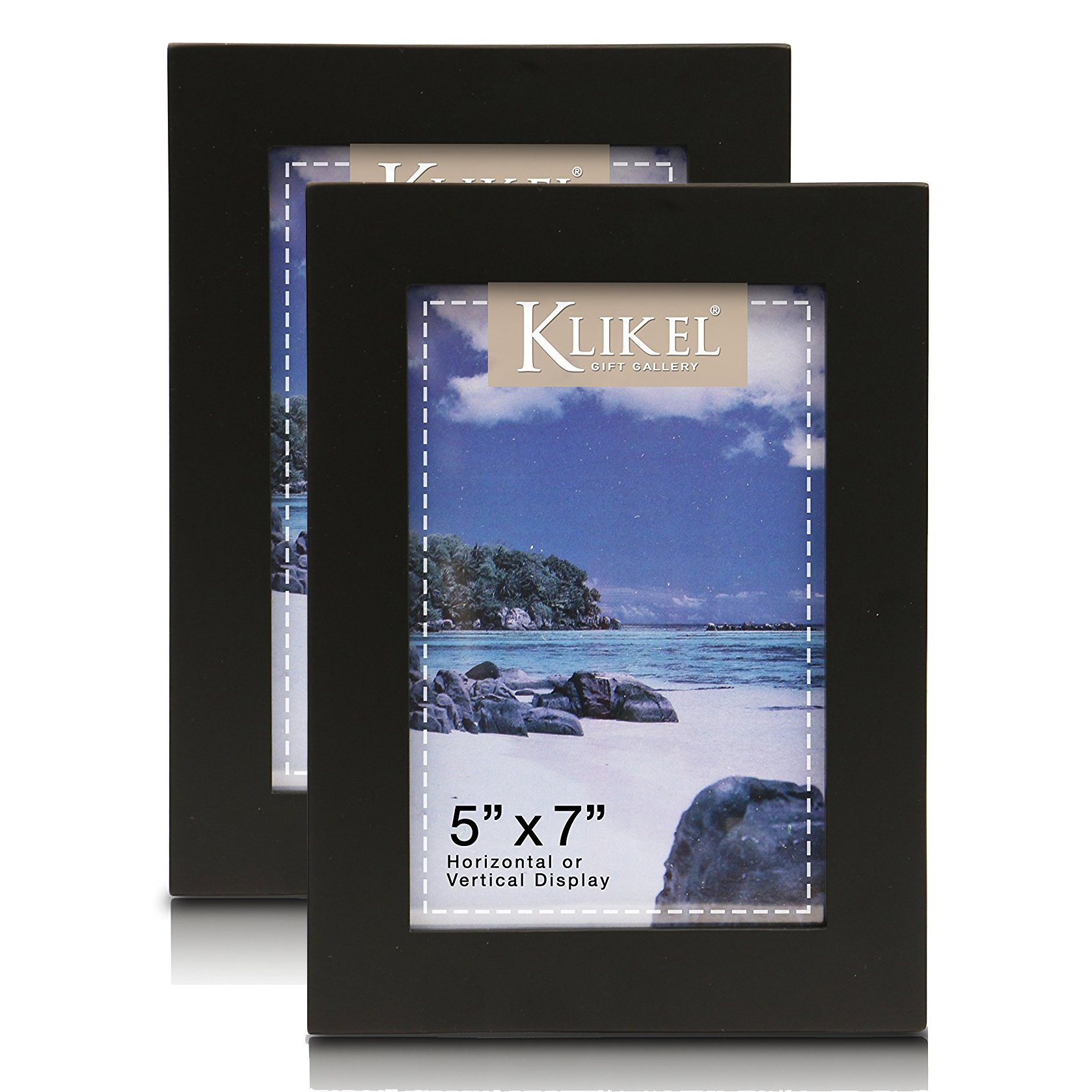 Klikel 5 X 7 Black Wooden Picture Frame - Black Wooden Wall Hanging And Table Standing Photo Frame, Set of 2