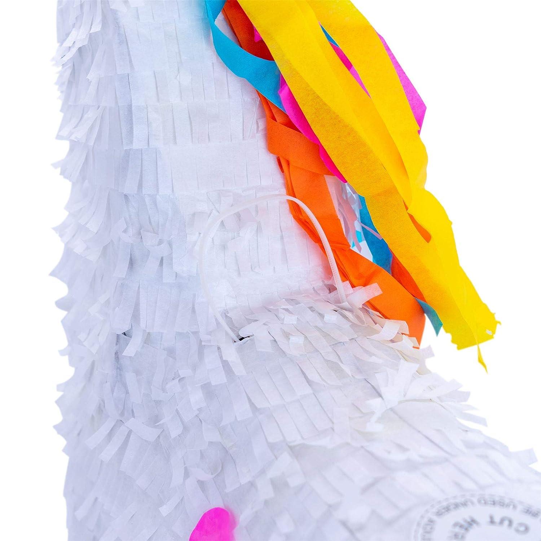 Patata de fax unicornio Pi/ñata conjunto con el palillo y los ojos vendados Blanco 43 x 13 x 55cm