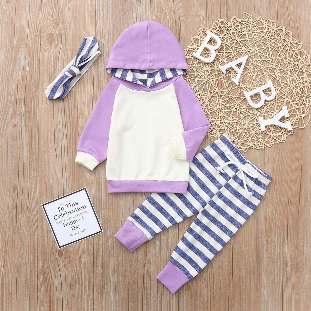 Onefa 3pcs Toddler Baby Boy Girl Hoodie Tops+Pants+Headband Outfits Clothes Set