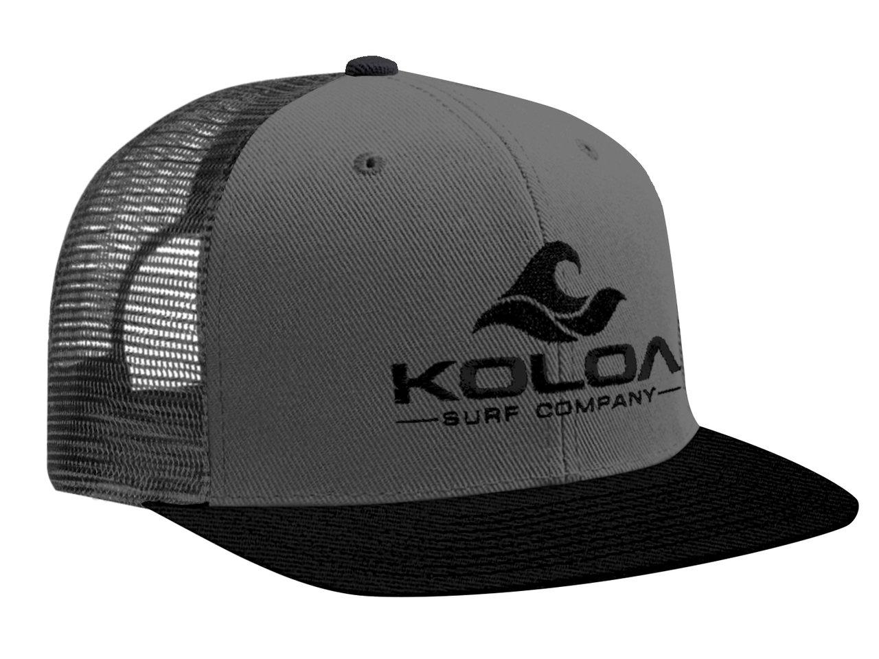 Koloa Surf(tm) Mesh Back Wave Logo Trucker Hat Black/Grey with Black Logo