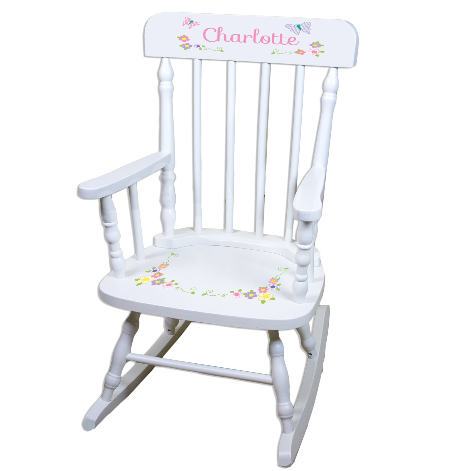 Personalized Pastel Butterfly Garland White Childrens Rocking Chair by MyBambino