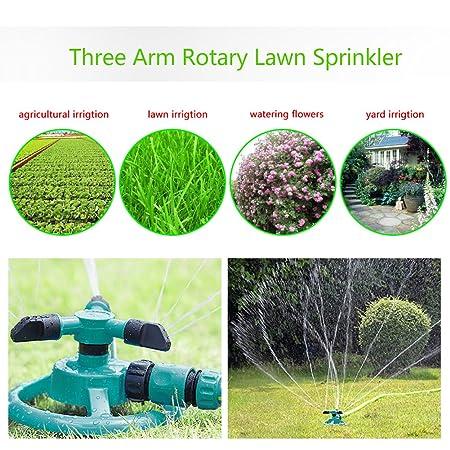 Paquete de 2 aspersores de agua, automático 360 Aspersor de jardín ajustable rotativo 3 Aspersores de césped con brazo Aspersor de rotación ABS Boquilla de ...