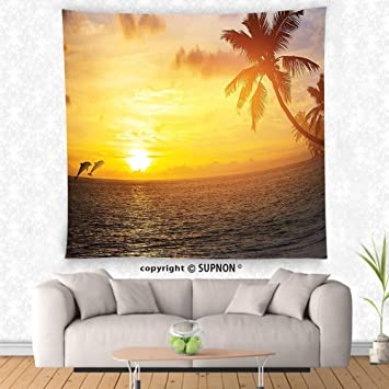 Amazon.com: VROSELV custom tapestry Palm Trees Tapestry Ocean Decor ...