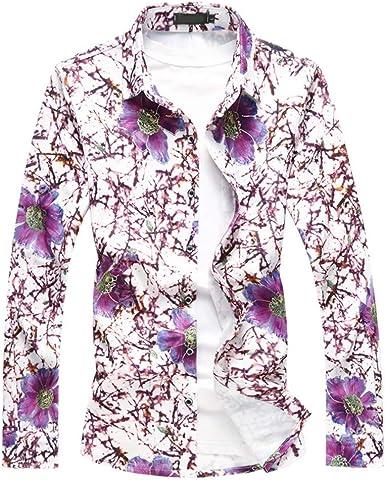 NANSHIZSCS Camisa de hombre Camisas con Estampado De Flores De Manga Larga para Hombres Camisas Sociales Casuales Talla Grande, 4XL: Amazon.es: Ropa y accesorios