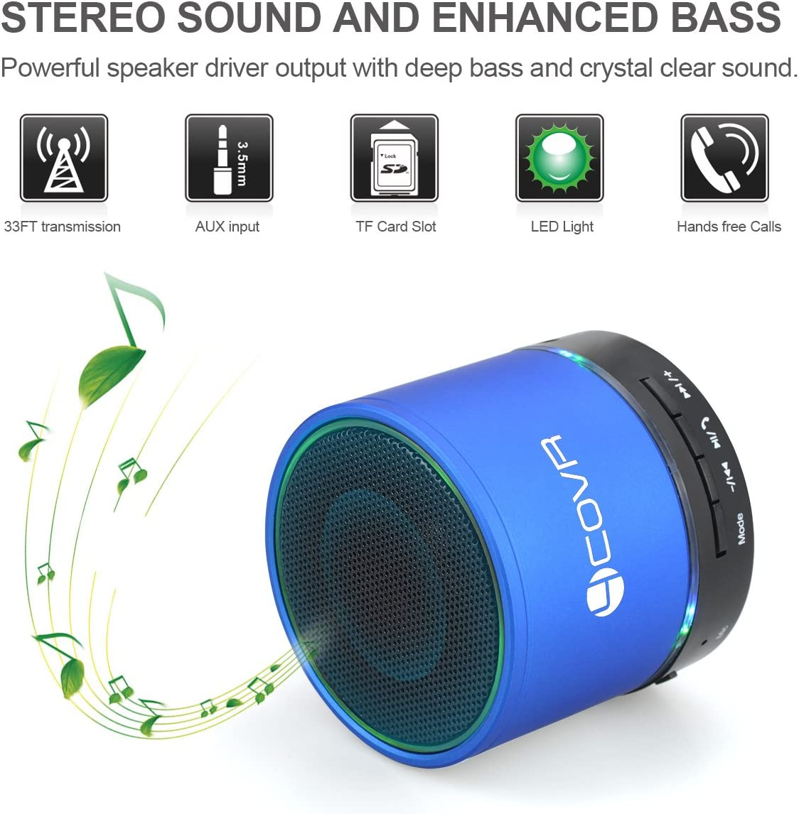 Bluetooth Speaker Wireless, Forcovr Mini Stereo Speakers Portable with HD Sound and Bass, Handsfree Call, AUX Input Jack for TV, Computer, Outdoor Small Speakers V4.2 for Travel Hiking,Camping Blue