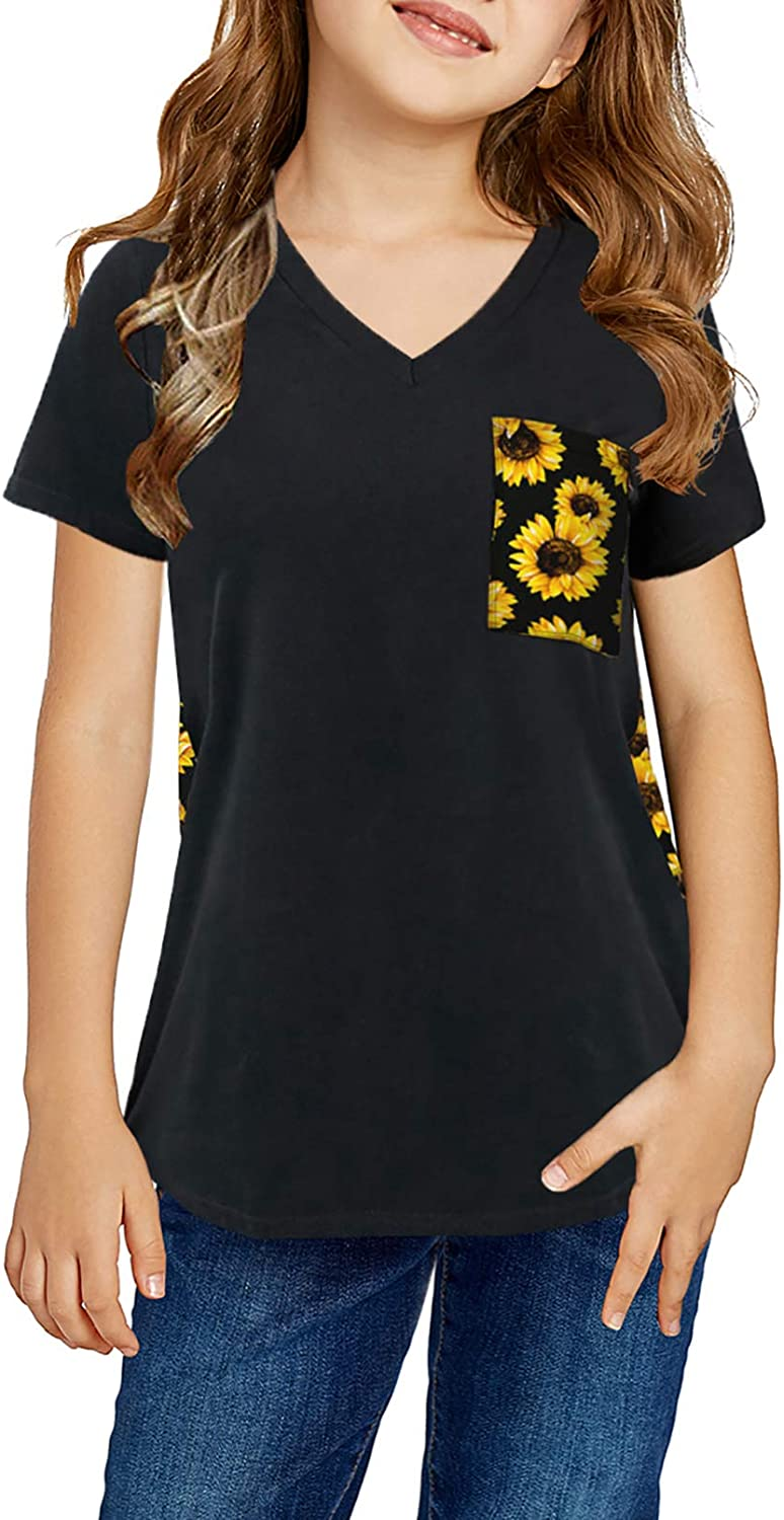 Sidefeel Girls Cute Casual Short Sleeved T-Shirt Loose Side Breasted Top Size 4-13Y: Clothing