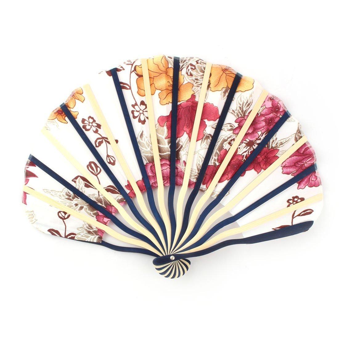 Amazon.com: eDealMax Marco Impresa Flor de bambú Señora Concha en Forma de Mano de Verano plegable ventilador de refrigeración: Home & Kitchen