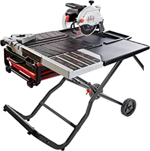 """Lackmond Beast Wet Tile Saw - 10"""" Portable Jobsite Cutting Tool with Gravity Folding Stand & Accessories - BEAST10PKIT"""