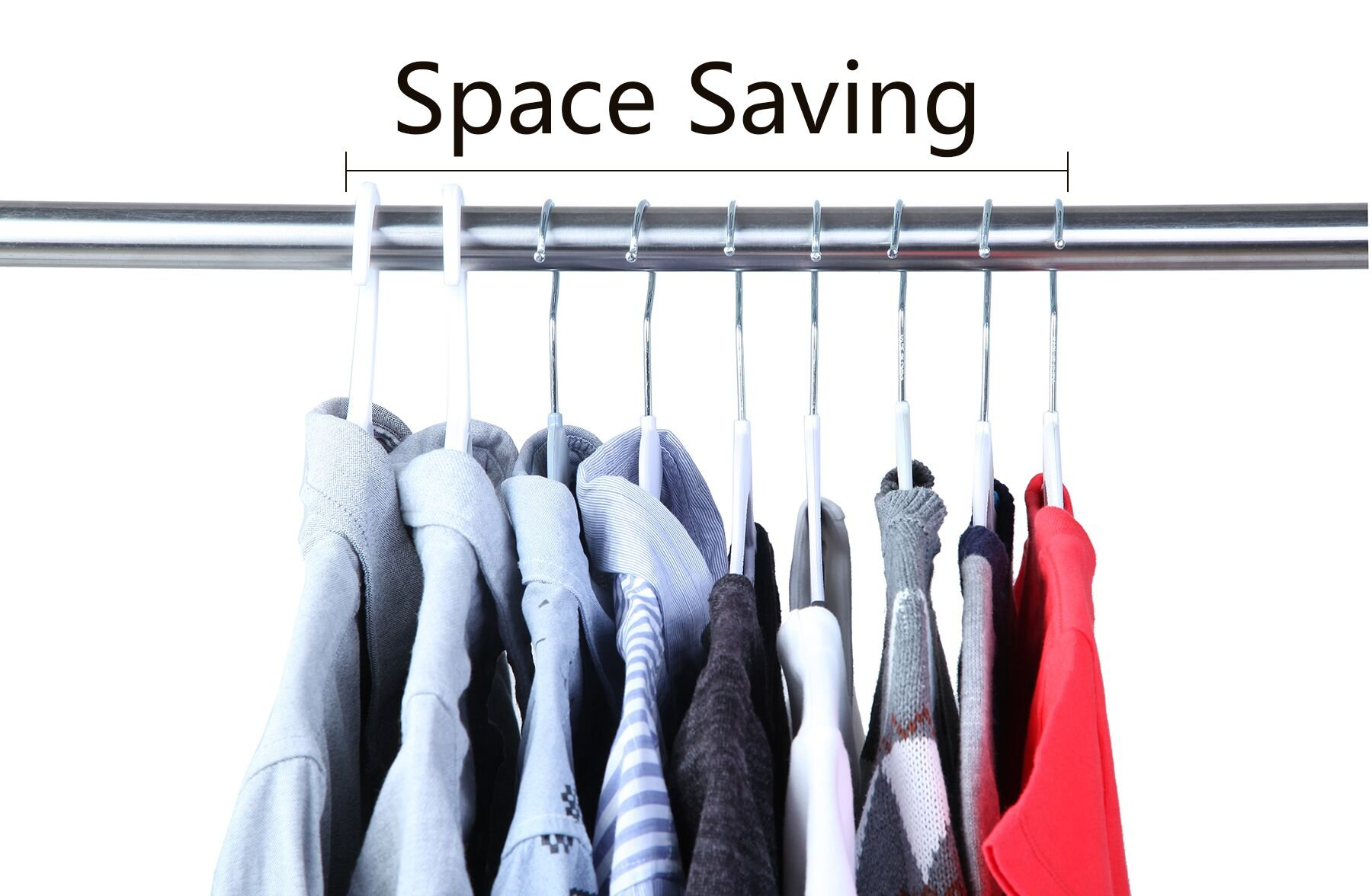 Finnhomy Super Value 50 Pack Plastic Hangers, Durable Clothes Hangers with Non-Slip Pads, Space Saving Easy Slide Organizer for Bedroom Closet Wardrobe, Great for Shirts, Pants, Scarves by Finnhomy (Image #6)